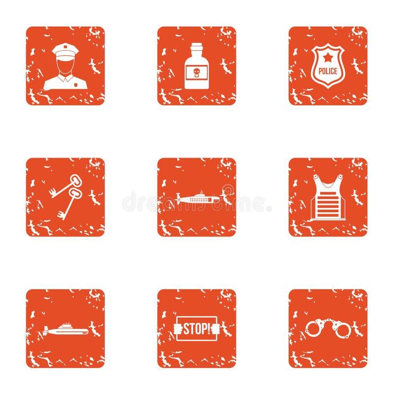 Pare los iconos fijados, estilo del crimen del grunge ilustración del vector