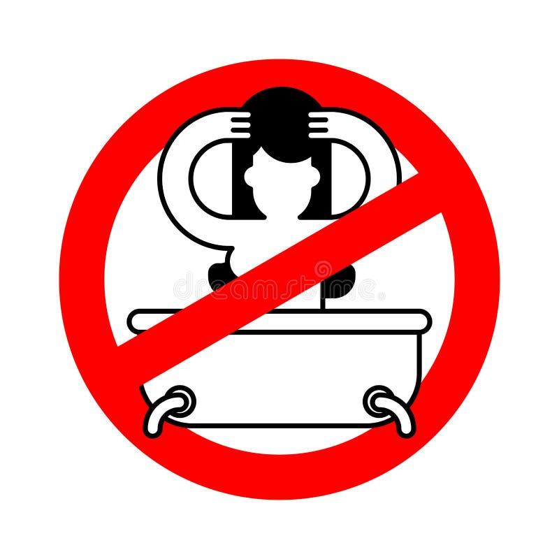 Pare a menina no banho Sinal vermelho da proibição do perigo Lavagem da proibição Vec ilustração do vetor