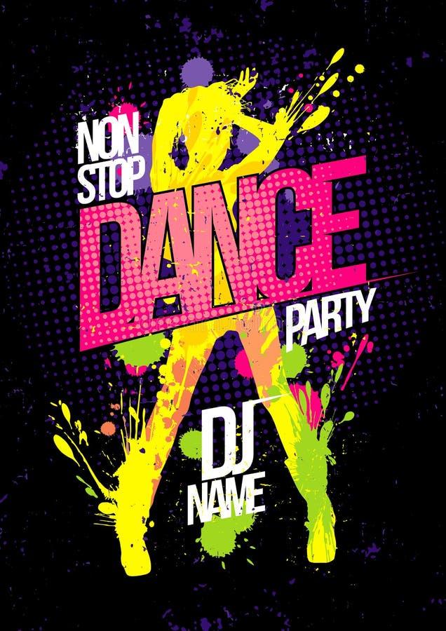 Pare não o cartaz do dance party com a silhueta da mulher da dança feita das manchas ilustração royalty free