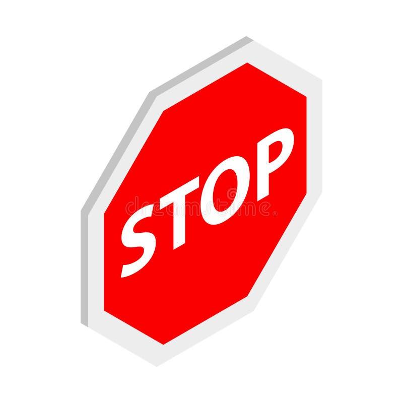 Pare o ícone do sinal, estilo 3d isométrico ilustração stock