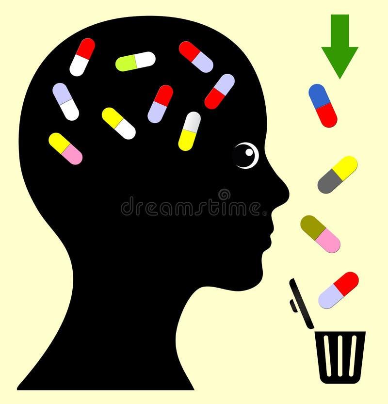Pare o abuso de medicamento de venta com receita ilustração stock