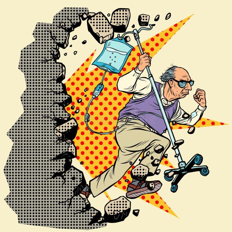 Pare o ageism Um paciente idoso escapa do hospital, vovô com um conta-gotas quebra a parede ilustração royalty free