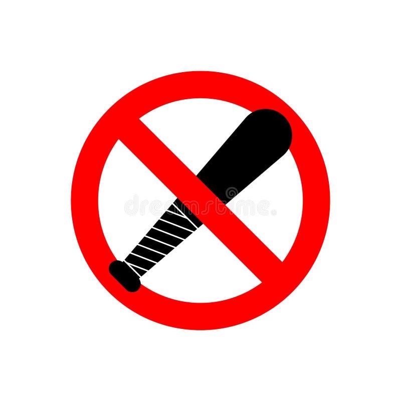 Pare o bastão de beisebol Nenhum ladrão da arma Sinal proibitivo vermelho Proibição B ilustração do vetor