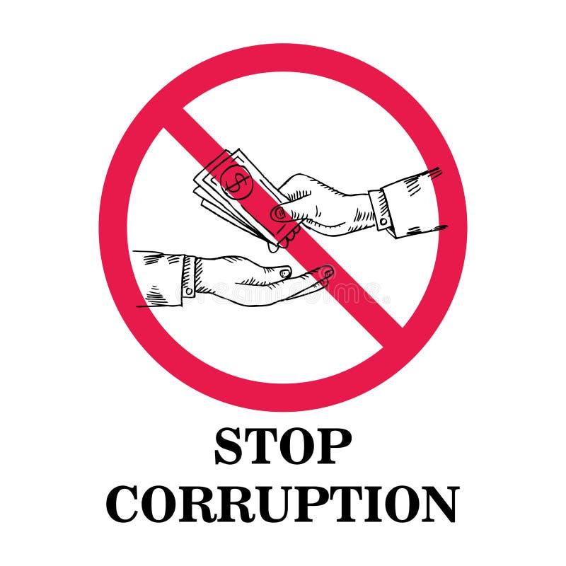 Pare o conceito da corrupção ilustração royalty free