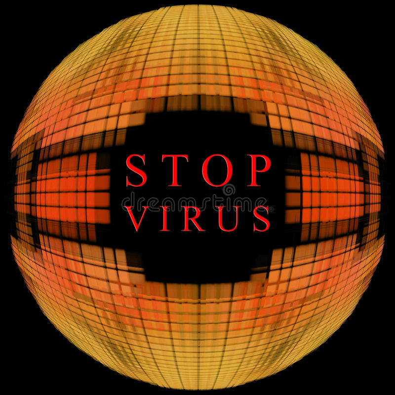 Pare o conceito do vírus Forma alaranjada do globo no fundo preto com t ilustração royalty free