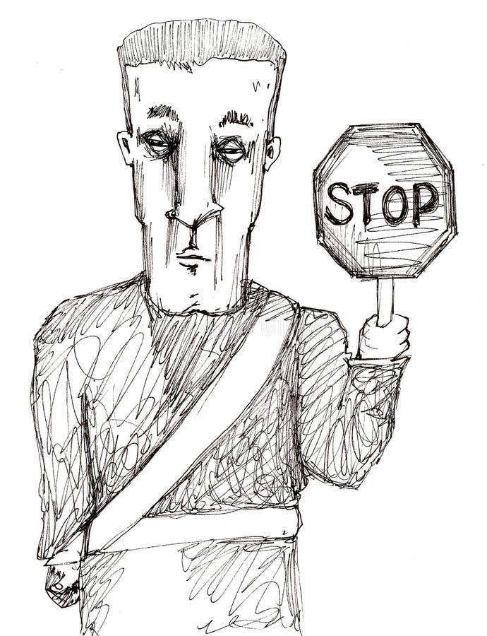 Pare o protetor de cruzamento ilustração do vetor