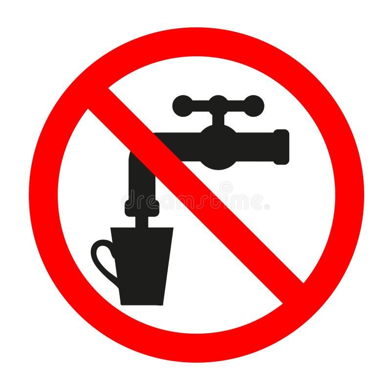 Pare o símbolo da silhueta Nenhuma água potável Espaço negativo Sinal proibido com um ícone do glyph do torneira ilustração stock