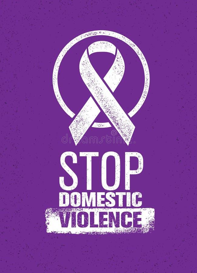 Pare o selo da violência doméstica Conceito social criativo do elemento do projeto do vetor ilustração royalty free