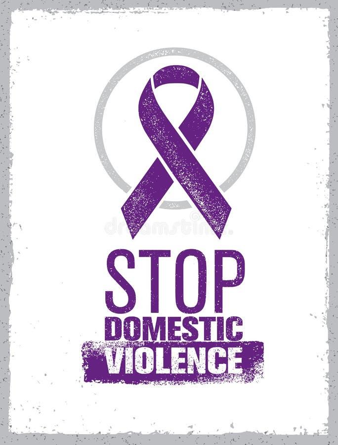 Pare o selo da violência doméstica Conceito social criativo do elemento do projeto do vetor ilustração stock