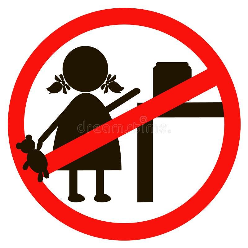 Pare o sinal com o ícone da criança isolado no fundo branco Ilustração proibida crianças do vetor Não é permitida à criança ilustração royalty free