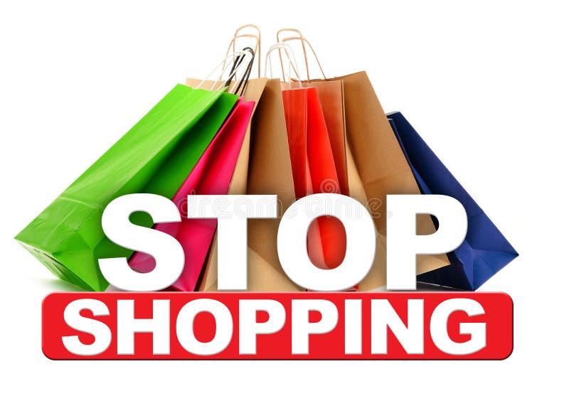 Pare o sinal de compra com os sacos de papel isolados no branco imagens de stock