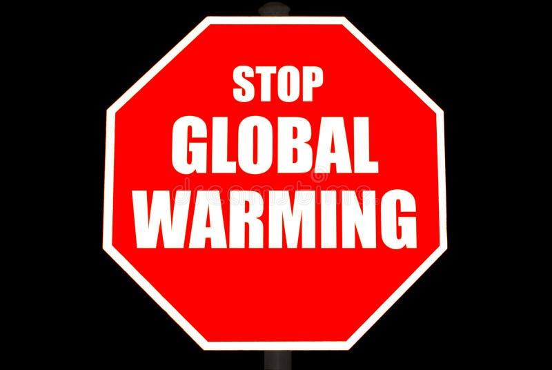 Pare o sinal do aquecimento global isolado no preto imagens de stock