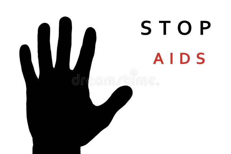 Pare o sinal do SIDA: mão preta no fundo branco fotos de stock