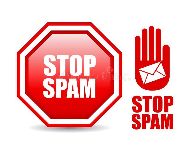 Pare o sinal do Spam ilustração stock