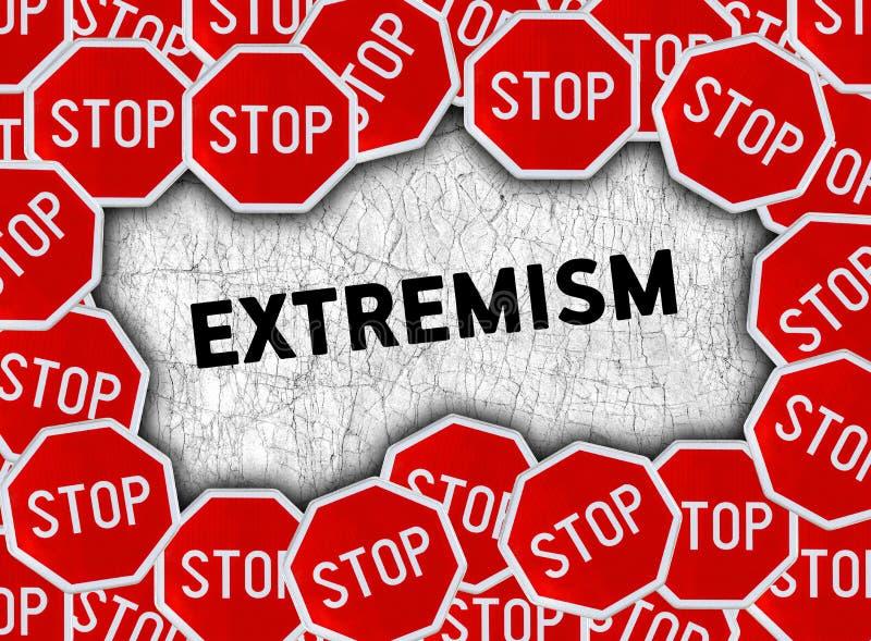 Pare o sinal e exprima o extremismo fotografia de stock
