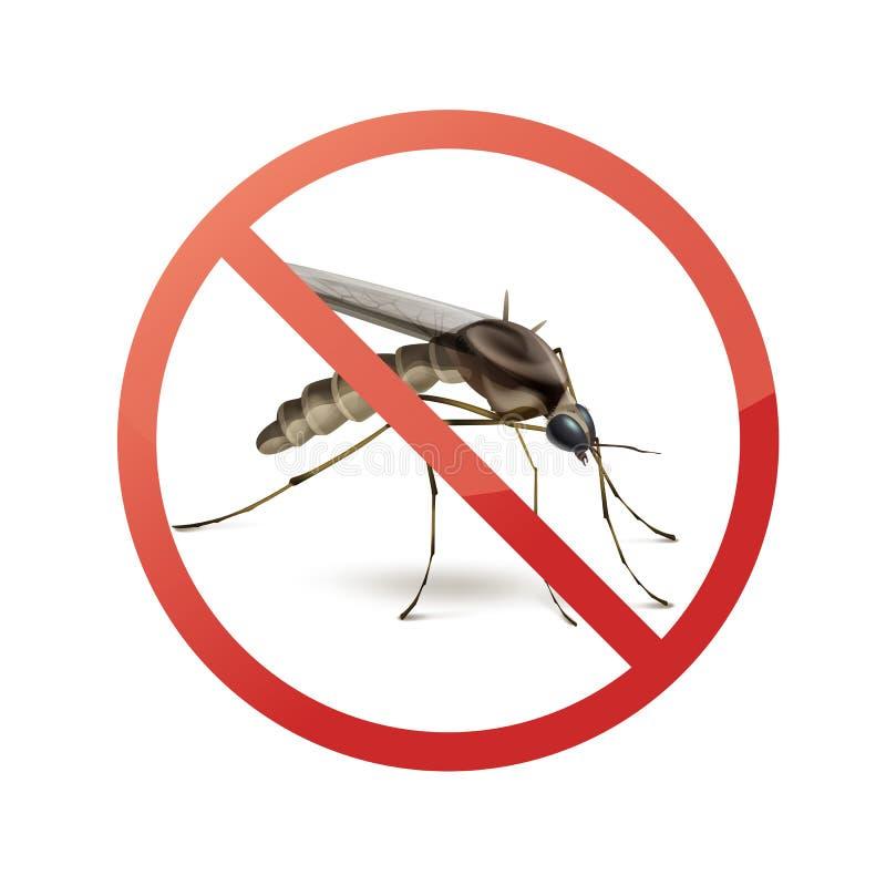 Pare o sinal no mosquito ilustração royalty free
