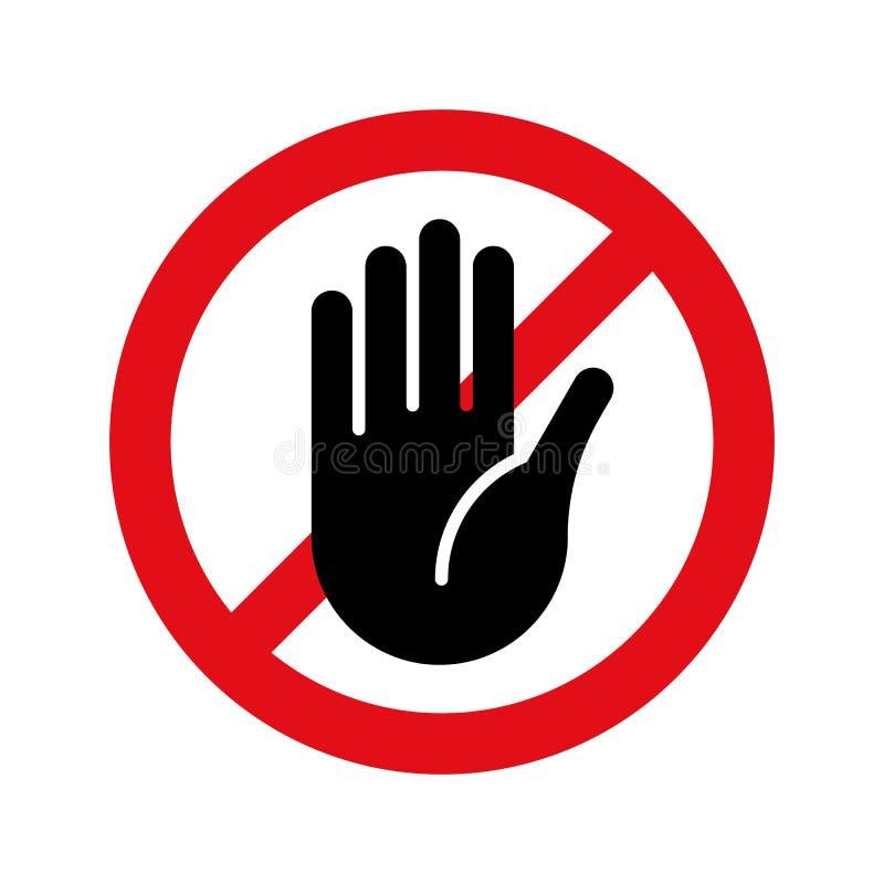 Pare o vetor da mão nenhum ícone do sinal da entrada ilustração royalty free