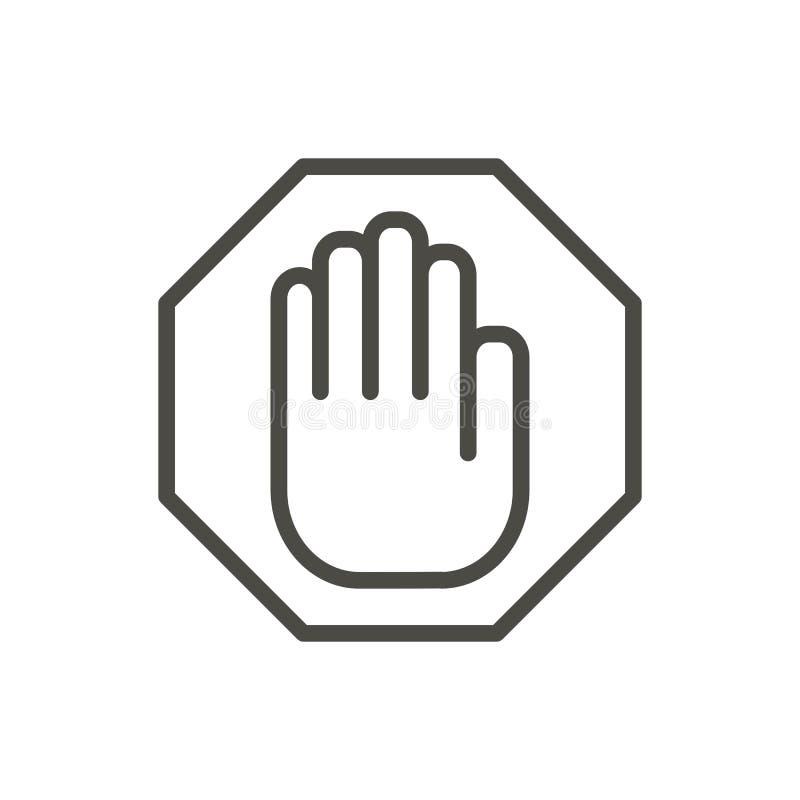Pare o vetor do ícone da mão Linha símbolo de advertência isolado Projeto liso na moda do sinal do ui do esboço Linea fino ilustração do vetor