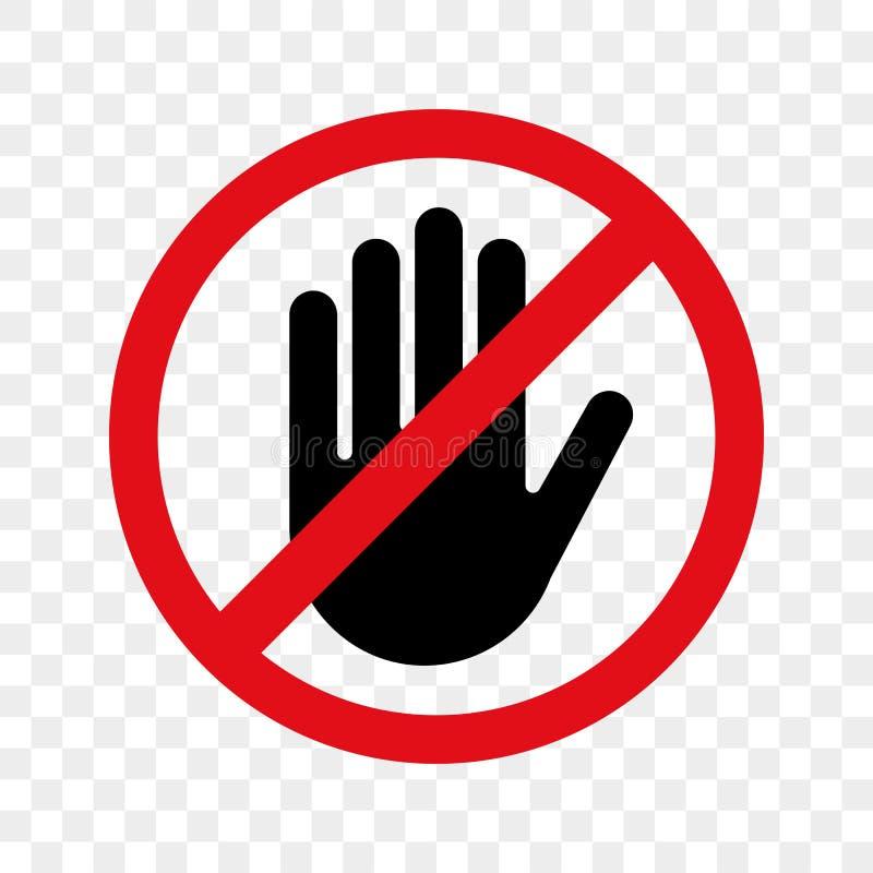 Pare o vetor do sinal da mão nenhum ícone da entrada ilustração stock