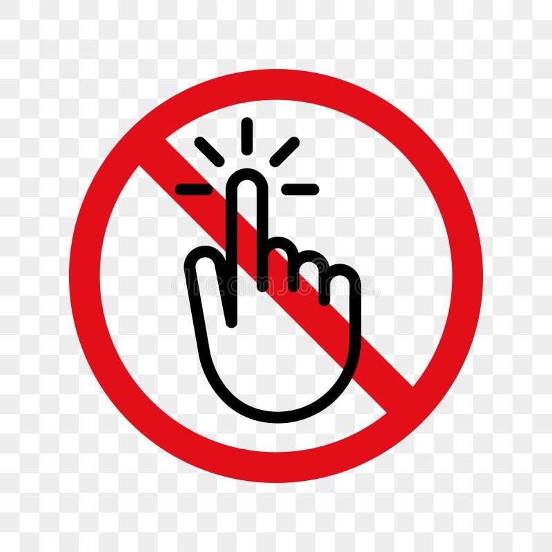 Pare o vetor do sinal do dedo da mão nenhum ícone do toque ilustração royalty free