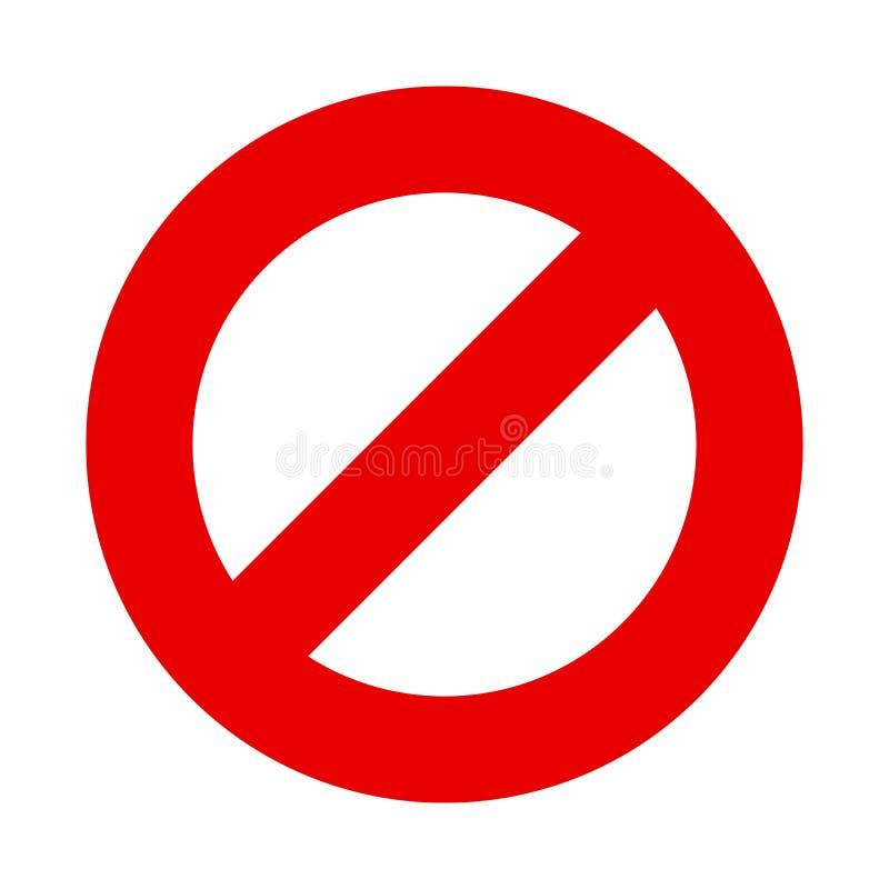 Pare o vetor do sinal nenhum símbolo de entrada ilustração stock