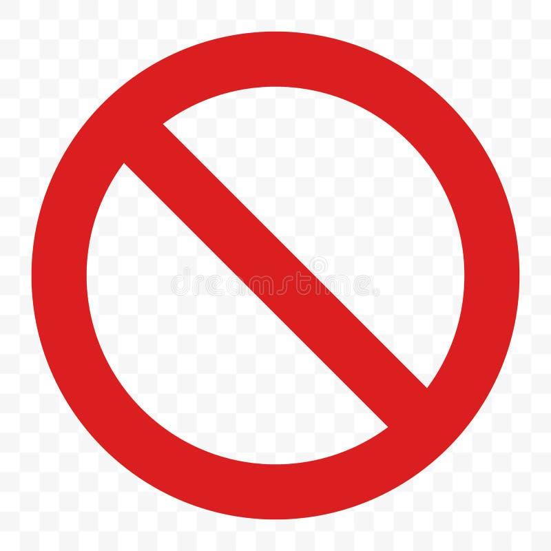 Pare o vetor do sinal nenhuma passagem da entrada que adverte o ícone vermelho ilustração royalty free