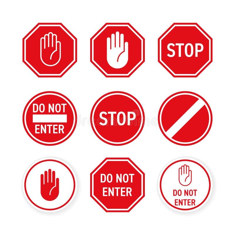 Pare o vetor que do sinal de estrada a mão vermelha incorpora o gesto ilustração stock