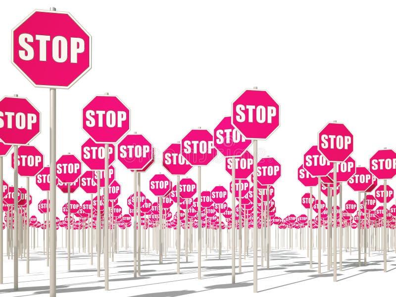 Pare os sinais 3d cg ilustração royalty free