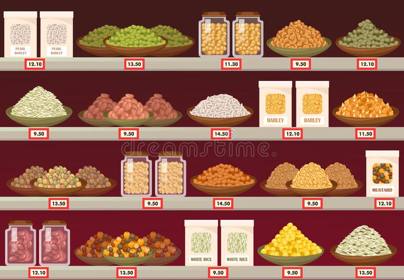 Pare ou esteja na loja com cevada e arroz, mostarda ilustração do vetor