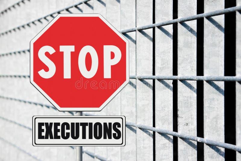Pare a pena de morte escrita no sinal de estrada fotografia de stock