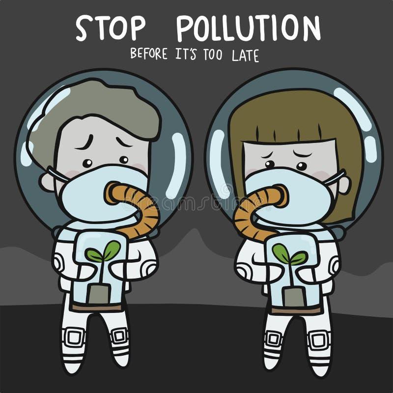 Pare a poluição antes que esteja demasiado tarde ilustração futura do vetor do personagem de banda desenhada dos povos ilustração stock