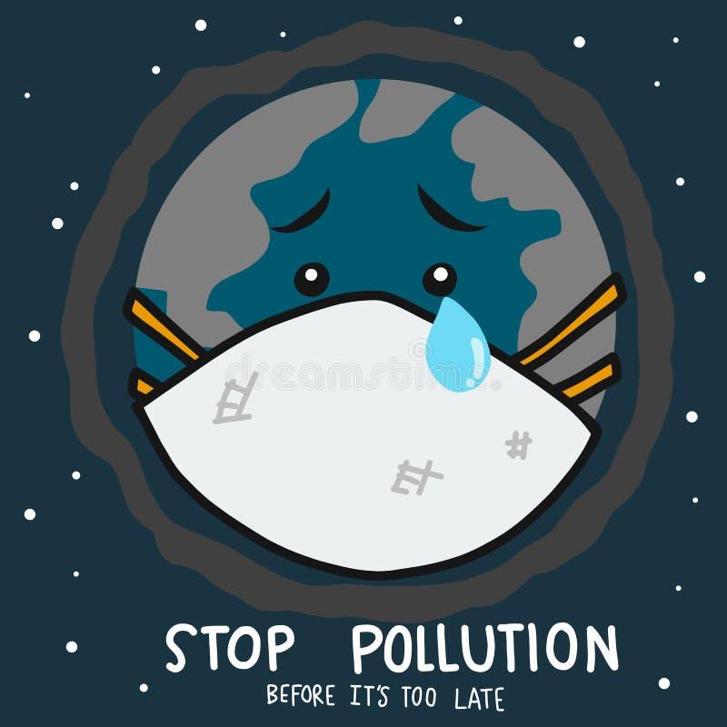 Pare a poluição antes que esteja grito demasiado atrasado do mundo vestir a ilustração do vetor dos desenhos animados da máscara  ilustração stock