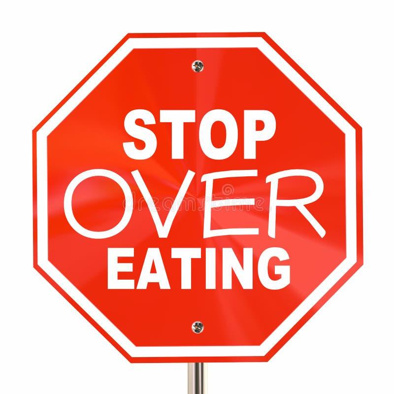 Pare sobre calorías del corte de la dieta de obesidad del final de la muestra de la consumición ilustración del vector