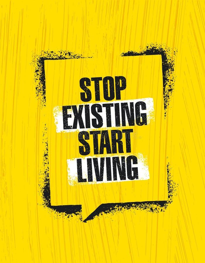 Pare vida existente do começo Molde criativo inspirador do cartaz das citações da motivação Conceito de projeto da bandeira da ti ilustração stock