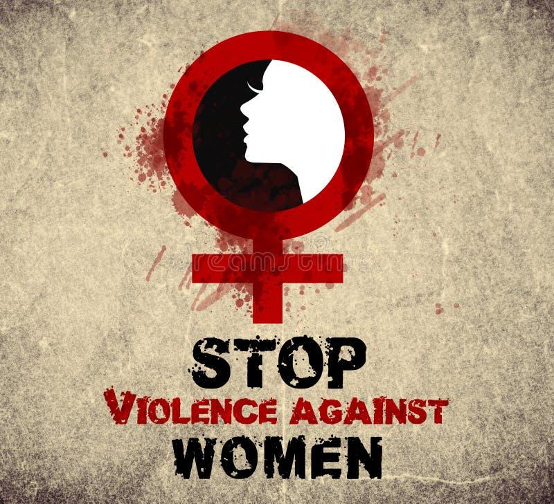 Pare a violência contra mulheres ilustração royalty free