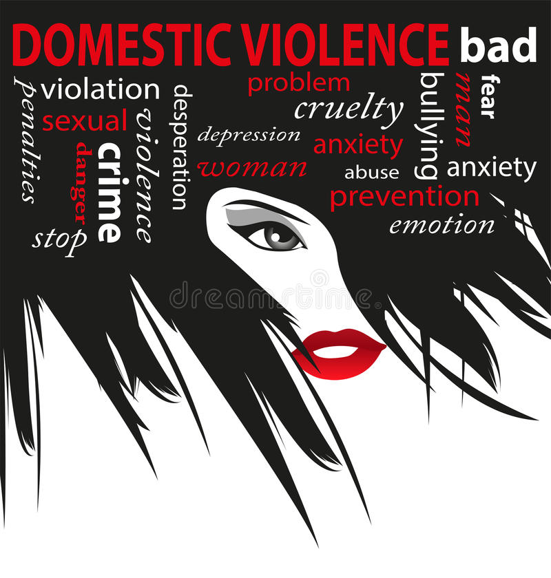 Pare a violência doméstica ilustração stock