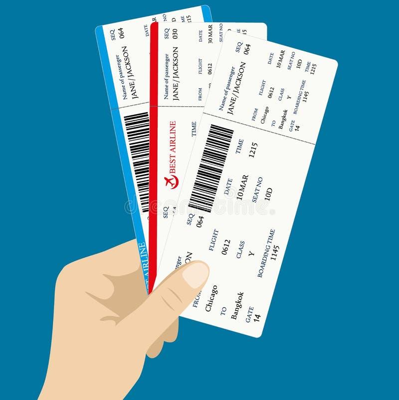 Parecchi biglietti dei passaggi di imbarco illustrazione vettoriale