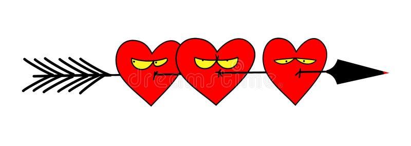 Parecchi cuori freccia presi con le espressioni infelici Illustrazione divertente sveglia royalty illustrazione gratis