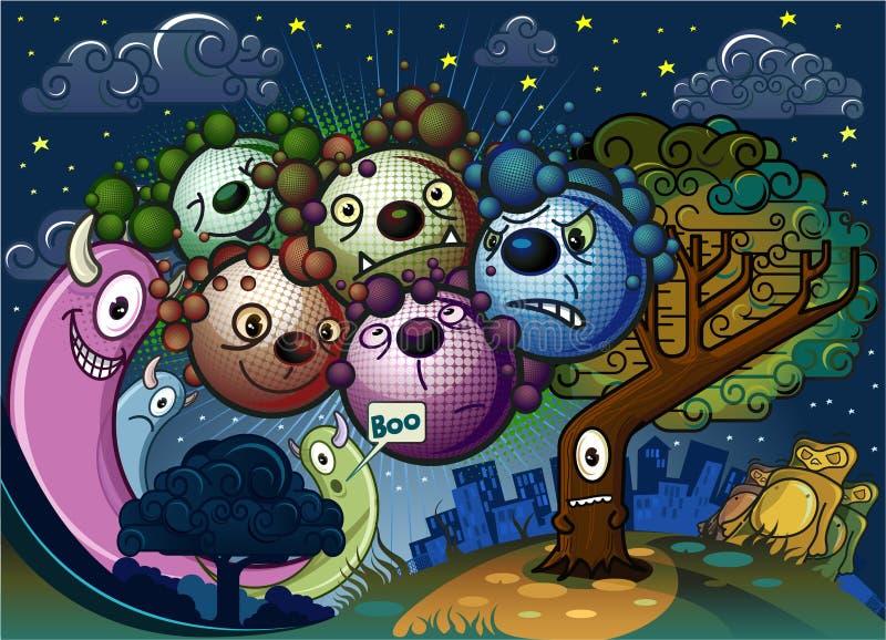 Parecchi mostri dalla notte di riunione di città illustrazione vettoriale