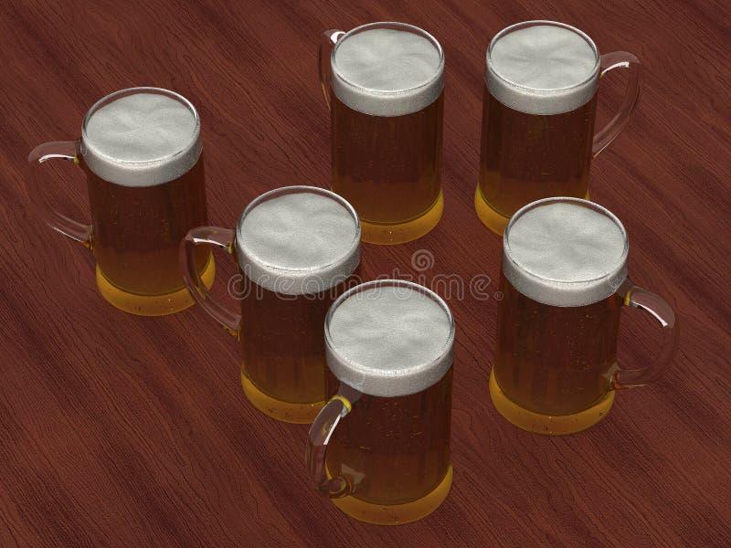 Parecchi vetri di birra illustrazione di stock