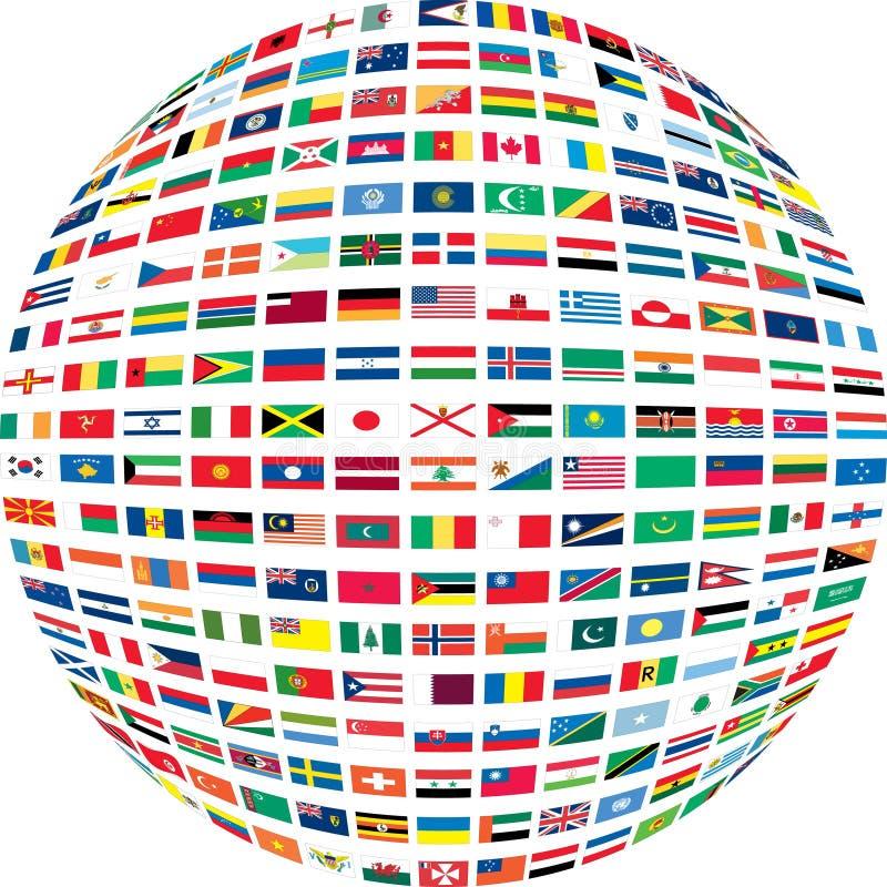 Parecchie bandierine in un cerchio. illustrazione vettoriale