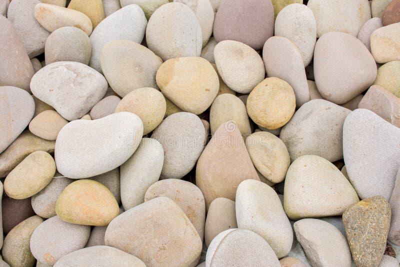 Parecchie belle pietre liscie rotonde sulla spiaggia fotografie stock