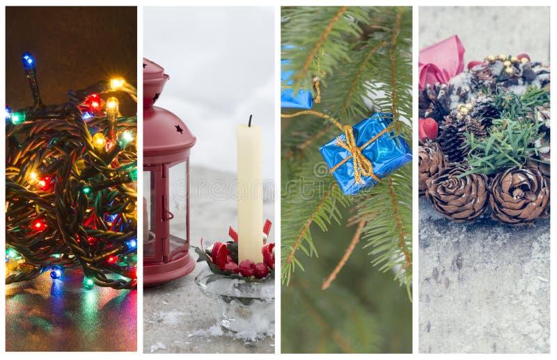Parecchie foto con il tema di feste di Natale fotografia stock