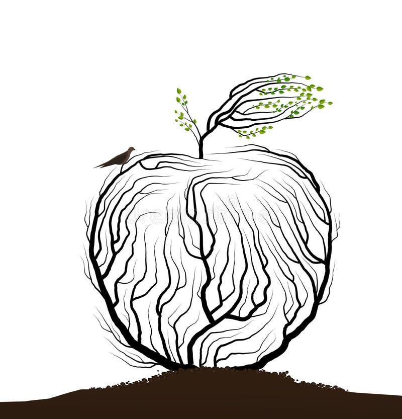 Parecer de Apple ramas de árbol con la jerarquía y los pájaros, fruta en la idea blanca del fondo, producto real de la naturaleza ilustración del vector