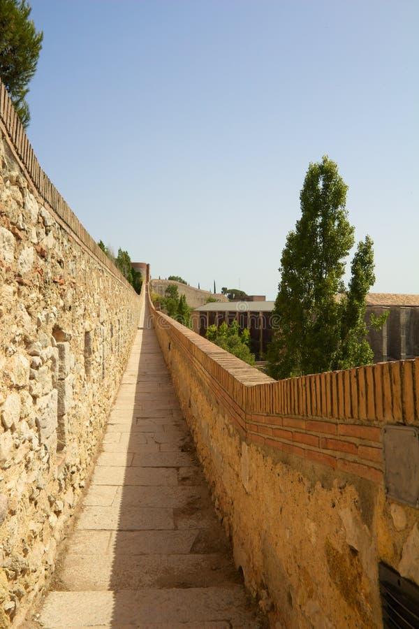 Pared 1 de la ciudad de Girona fotos de archivo