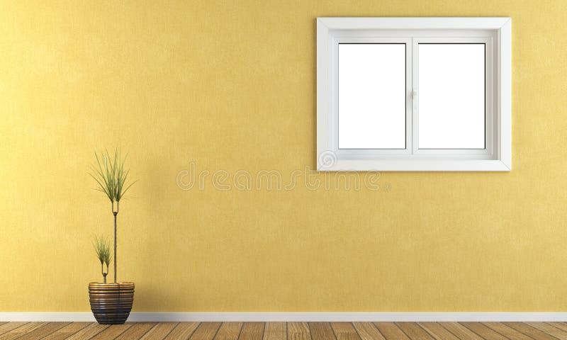 Pared amarilla con una ventana libre illustration