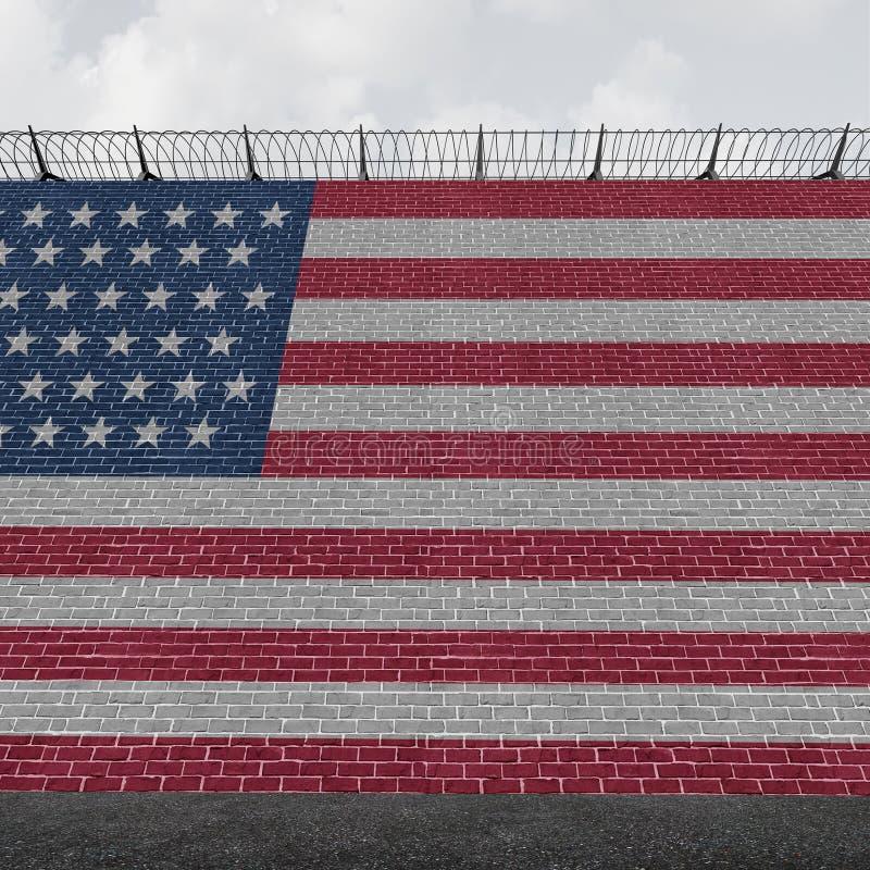 Pared americana de la frontera stock de ilustración