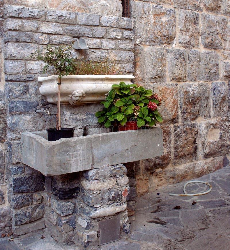 Pared antigua con los ladrillos expuestos y los tanques del mármol que contienen los floreros con las plantas foto de archivo libre de regalías
