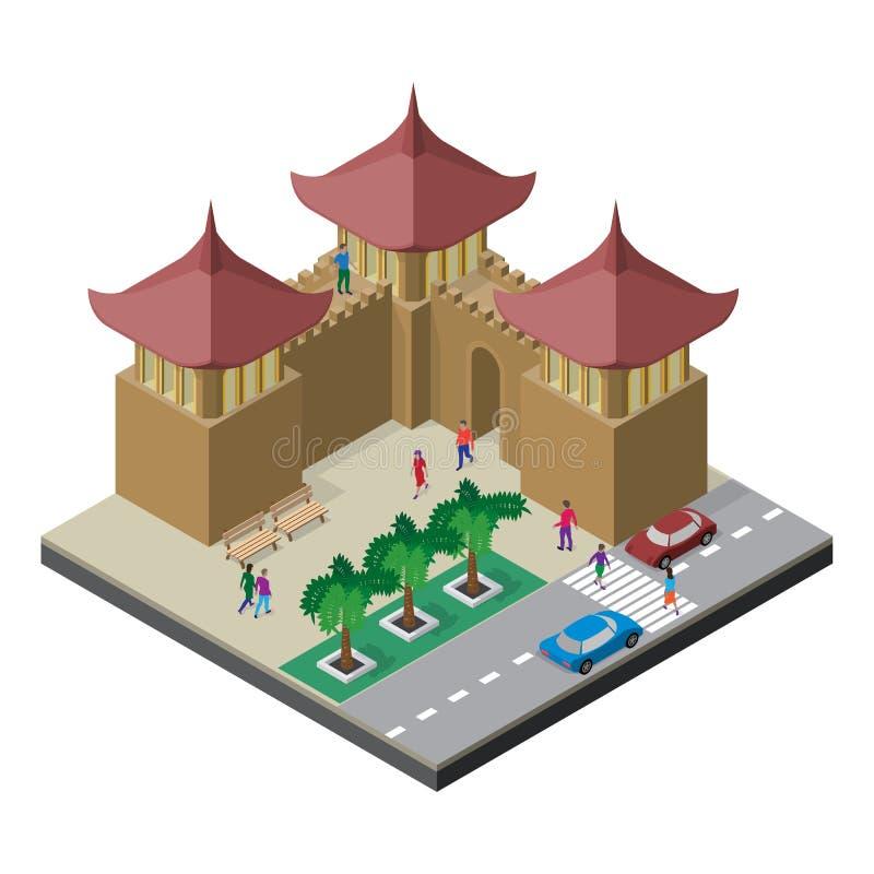 Pared, bancos, árboles, camino, coches y gente de la fortaleza Paisaje urbano en la visi?n isom?trica ilustración del vector
