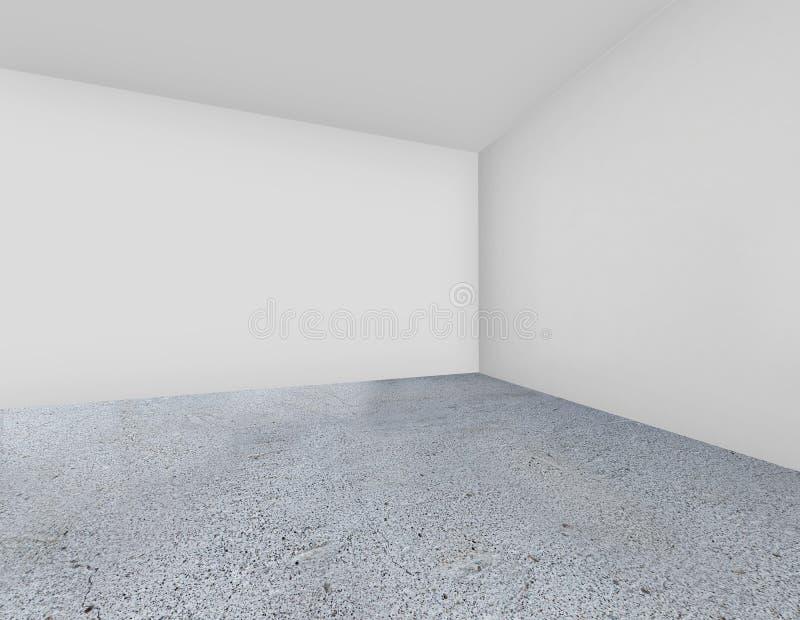 Pared blanca con el piso concreto representación 3d fotografía de archivo